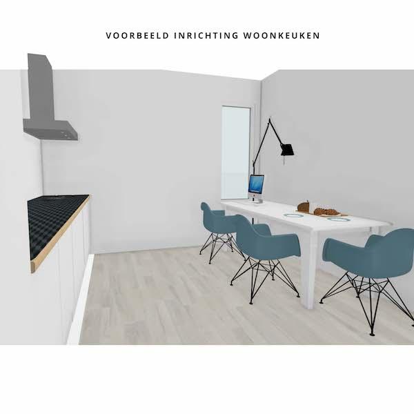 Keuken met voorbeeld inrichting appartement Mercuriushof Assen