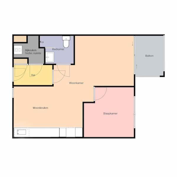 Plattegrond Dr. Schaepmanstraat 143 Assen Mercuriushof De Wester huurappartement 600x600