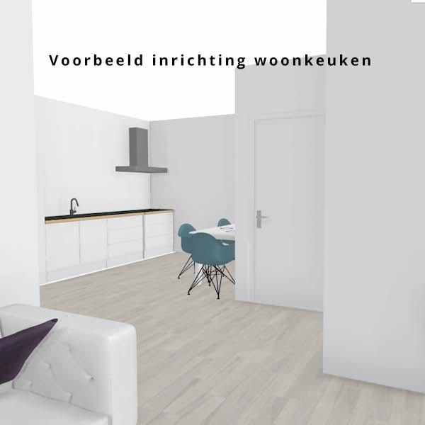 Zicht op de woonkeuken met inrichting 2-kamerappartement Dr. Schaepmanstraat 143 Assen