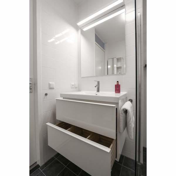 Compleet ingerichte badkamer met veel opbergruimte appartement Mercuriushof Dr. Schaepmanstraat 143 Assen_4kopie